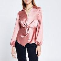 RIVER ISLAND Pink long sleeve twist front shirt