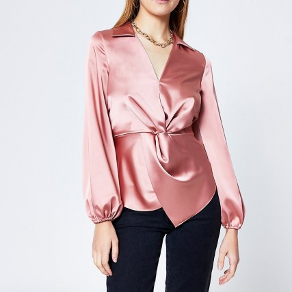 RIVER ISLAND Pink long sleeve twist front shirt - flipped