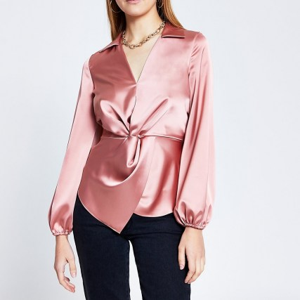 RIVER ISLAND Pink long sleeve twist front shirt
