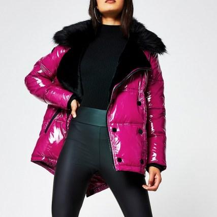 RIVER ISLAND Pink patent aviator faux fur puffer jacket ~ bright glossy winter jackets ~ shiny outerwear - flipped