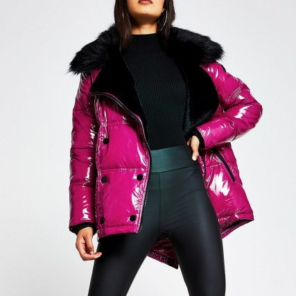RIVER ISLAND Pink patent aviator faux fur puffer jacket ~ bright glossy winter jackets ~ shiny outerwear