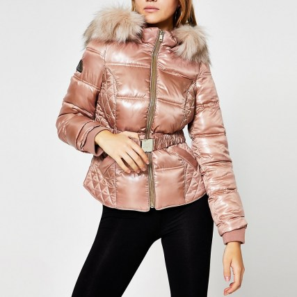RIVER ISLAND Pink quilted double zip padded coat ~ faux fur trimmed winter coats - flipped
