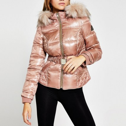 RIVER ISLAND Pink quilted double zip padded coat ~ faux fur trimmed winter coats