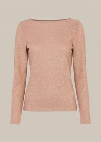 WHISTLES PINK STRAIGHT NECK SPARKLE TOP