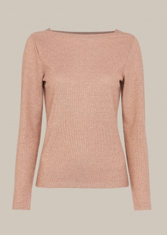 WHISTLES PINK STRAIGHT NECK SPARKLE TOP - flipped
