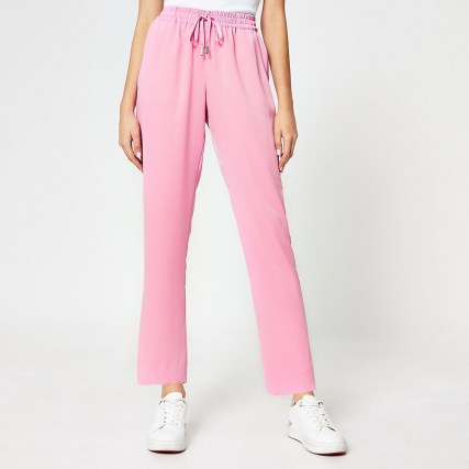 RIVER ISLAND Pink tailored crepe joggers ~ drawstring waist jogging bottoms - flipped