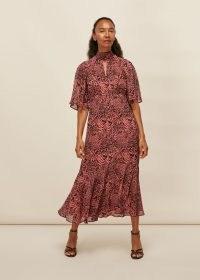WHISTLES DESERT ZEBRA PRINT MIDI DRESS / pink animal print dresses