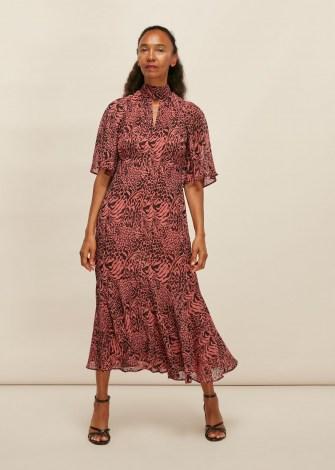 WHISTLES DESERT ZEBRA PRINT MIDI DRESS / pink animal print dresses - flipped