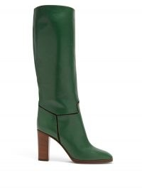 VICTORIA BECKHAM Piped knee-high leather boots in forest green