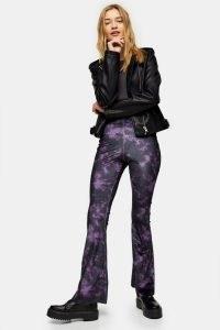 TOPSHOP Plum Tie Dye Velvet Flare Trousers / purple flares