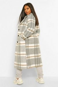 boohoo Plus Check Wool Look Boyfriend Coat ~ plus size checked coats
