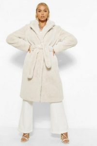 boohoo Plush Faux Fur Belted Robe Coat ~ cream self tie winter coats ~ luxe look outerwear