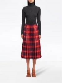 Prada check-print pleated skirt | tartan midi skirts