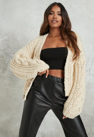 Missguided premium beige chunky hand knit cardigan | slouchy cardigans - flipped