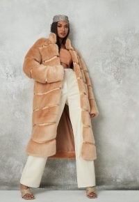 Missguided premium beige faux fur pelted maxi coat | luxe style winter coats