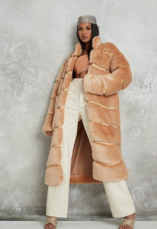 Missguided premium beige faux fur pelted maxi coat   luxe style winter coats - flipped