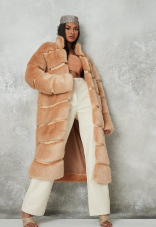 Missguided premium beige faux fur pelted maxi coat   luxe style winter coats