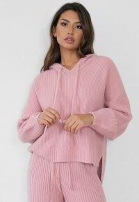 MISSGUIDED premium rose co ord rib knit boyfriend hoodie ~ pink knitted drop-back hem hoodies
