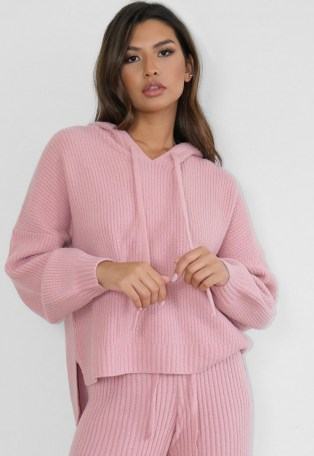 MISSGUIDED premium rose co ord rib knit boyfriend hoodie ~ pink knitted drop-back hem hoodies - flipped