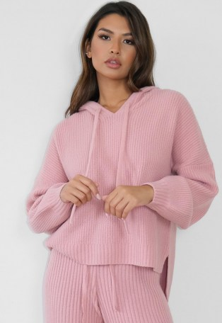 MISSGUIDED premium rose co ord rib knit boyfriend hoodie ~ pink knitted drop-back hem hoodies