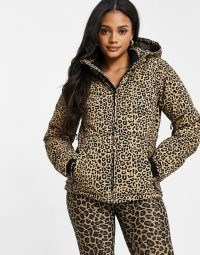 Protest Dallas leopard ski jacket in brown ~ hooded sportswear ~ sports jackets ~ ski wear ~ quilted ~ animal print ~ winter outerwear