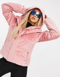 Protest Diva velvet ski jacket in pink ~ winter sports jackets ~ hooded outerwear ~ outdoor sportswear
