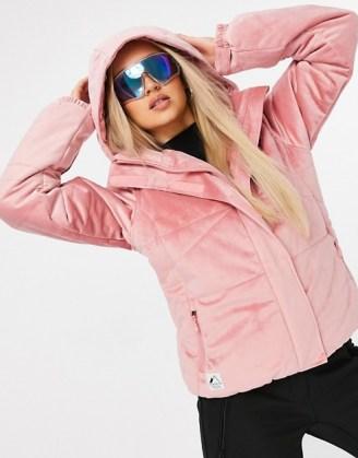 Protest Diva velvet ski jacket in pink ~ winter sports jackets ~ hooded outerwear ~ outdoor sportswear - flipped