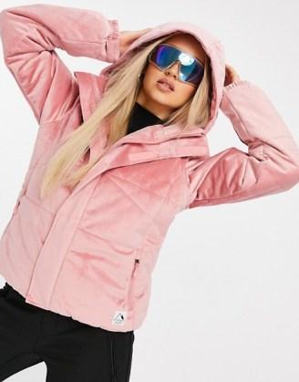 Protest Diva velvet ski jacket in pink ~ winter sports jackets ~ hooded outerwear ~ outdoor sportswear