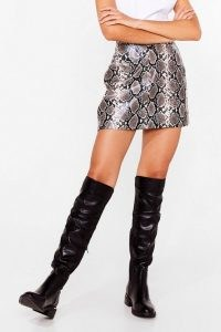 NASTY GAL PU heel detail stretch knee high boots ~ slouchy knee highs