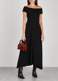 PUBLICKA Black off-the-shoulder cady maxi dress / LBD / asymmetric hem / bardot dresses