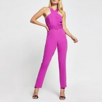 RIVER ISLAND Purple sleeveless wrap neck jumpsuit ~ going out jumpsuits ~ all in one evening fashion