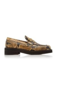 Marni Python-Effect Leather Loafers in Yellow