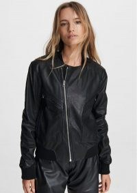 RAG & BONE FLIGHT LEATHER BOMBER JACKET BLACK / classic casual jackets / cool weekend outerwear