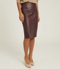REISS REAGAN LEATHER PENCIL SKIRT BERRY ~ autumn and winter colours ~ luxe skirts