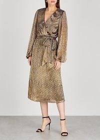 REBECCA VALLANCE Rivero metallic lamé midi dress / evening glamour / shimmering wrap effect dresses / glamorous occasionwear