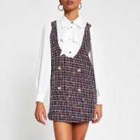 RIVER ISLAND Red long sleeve two in one boucle mini dress ~ tweed style dresses ~ textured yarn fashion