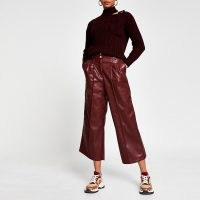 River Island Red PU pleat front cullottes