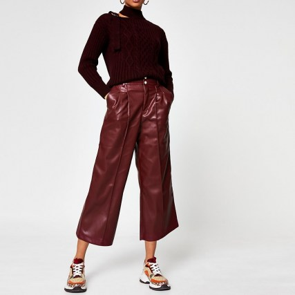 River Island Red PU pleat front cullottes - flipped