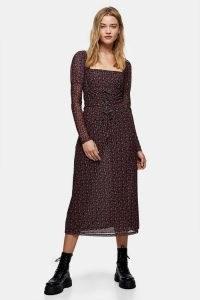 TOPSHOP Red Rose Print Lace Long Sleeve Midi Dress / square neck floral dresses