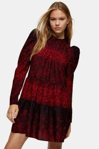 Topshop Red Tiered Mini Pintuck Dress | puff sleeve dresses