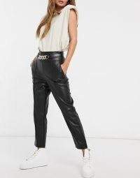 River Island faux leather belted trouser in black ~ chunky chain embellished trousers