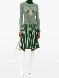 THEBE MAGUGU Roll-neck striped wool dress ~ green knitted dresses ~ beautiful knitwear