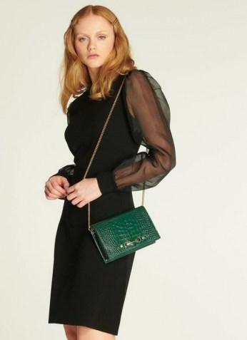 L.K. BENNETT ROSA BLACK MERINO WOOL SILK ORGANZA SLEEVE DRESS / black sheer sleeved dresses / LBD - flipped