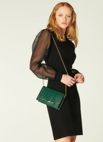 L.K. BENNETT ROSA BLACK MERINO WOOL SILK ORGANZA SLEEVE DRESS / black sheer sleeved dresses / LBD
