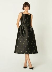 L.K. BENNETT ROSALIND BLACK FLORAL JACQUARD DRESS / vintage style occasion dresses / fit and flare LBD