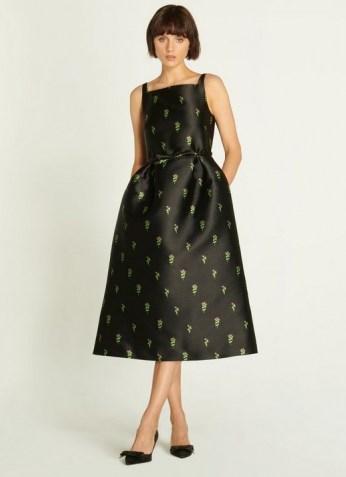 L.K. BENNETT ROSALIND BLACK FLORAL JACQUARD DRESS / vintage style occasion dresses / fit and flare LBD - flipped