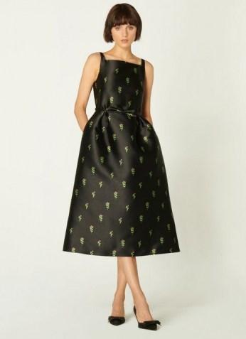 L.K. BENNETT ROSALIND BLACK FLORAL JACQUARD DRESS / vintage style occasion dresses / fit and flare LBD