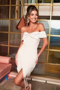 rosie connolly bow detail bardot wrap midi dress in champagne ~ off the shoulder party dresses ~ occasion fashion ~ glamorous impact