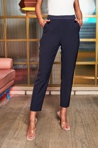 rosie connolly mid rise satin mix trousers in midnight blue ~ cropped evening pants