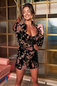 rosie connolly puff sleeve corset playsuit in black floral velvet devore ~ glamorous evening playsuits ~ party fashion